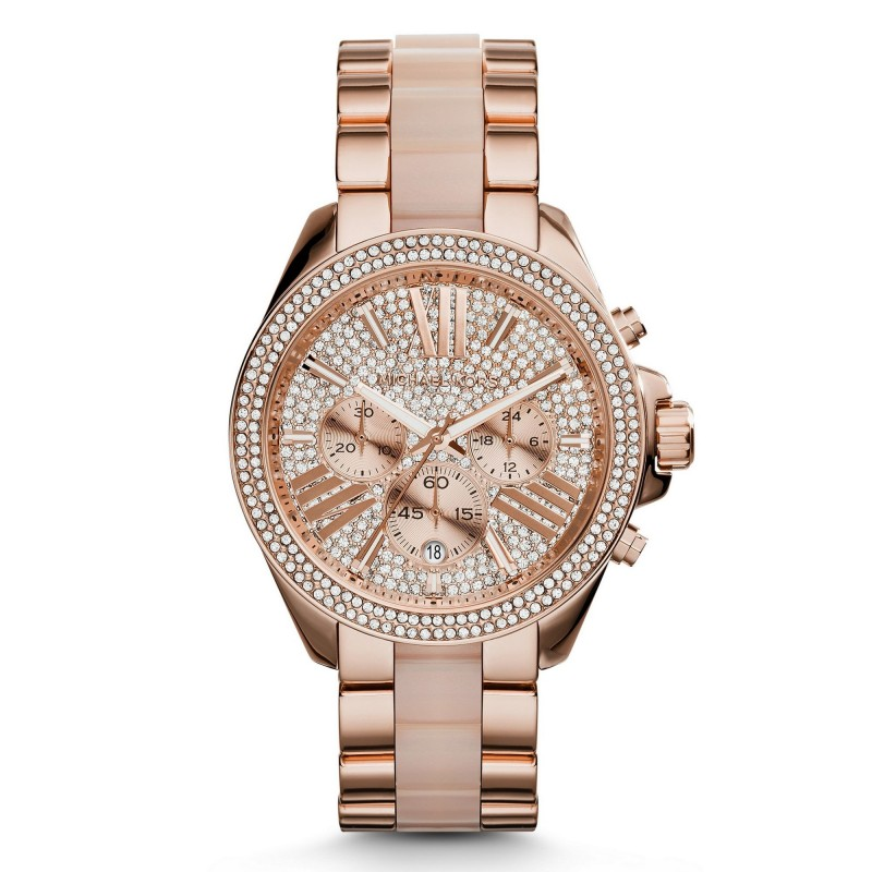 Michael Kors Women's MK6096 'Wren' Chronograph Crystal Rose Gold Tone Watch
