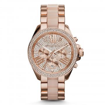 Michael Kors Women's MK6096 'Wren' Chronograph Crystal Rose Gold Tone Watch