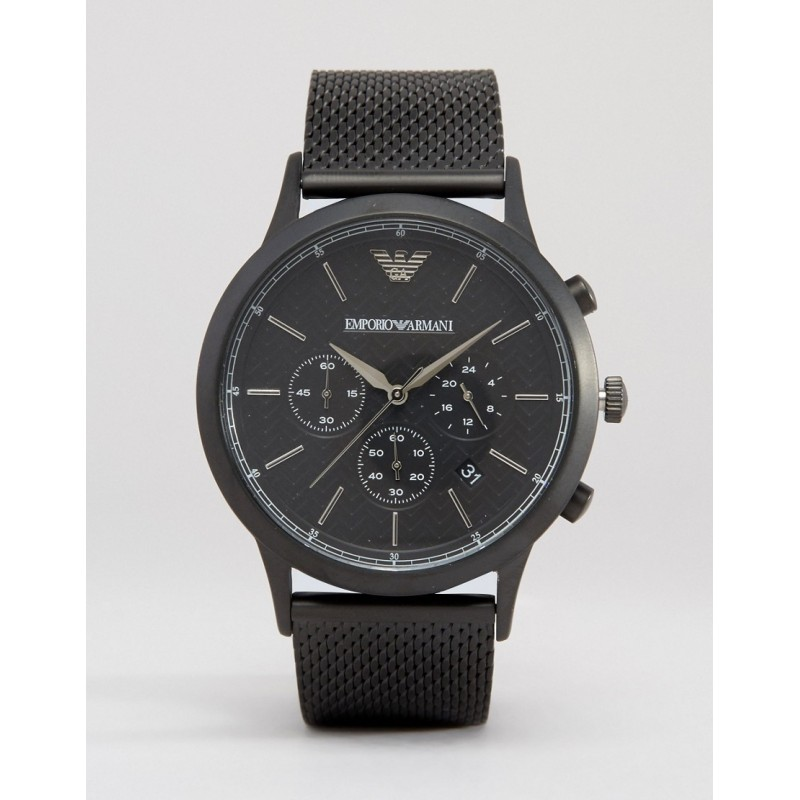 Emporio Armani AR2498 Mens Renato Black Steel Mesh Watch