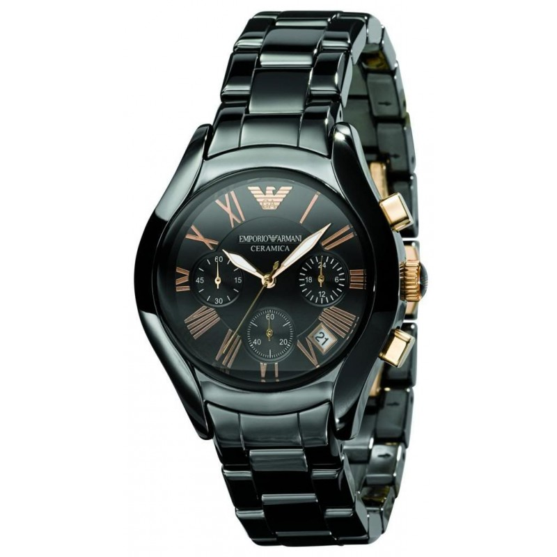 Emporio Armani Womens AR1411 Ceremica Watch Black Bracelet &Rose Gold Numerals