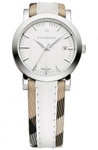 Burberry Women's 'Nove Check' White Leather Fabric Strap Watch BU1379