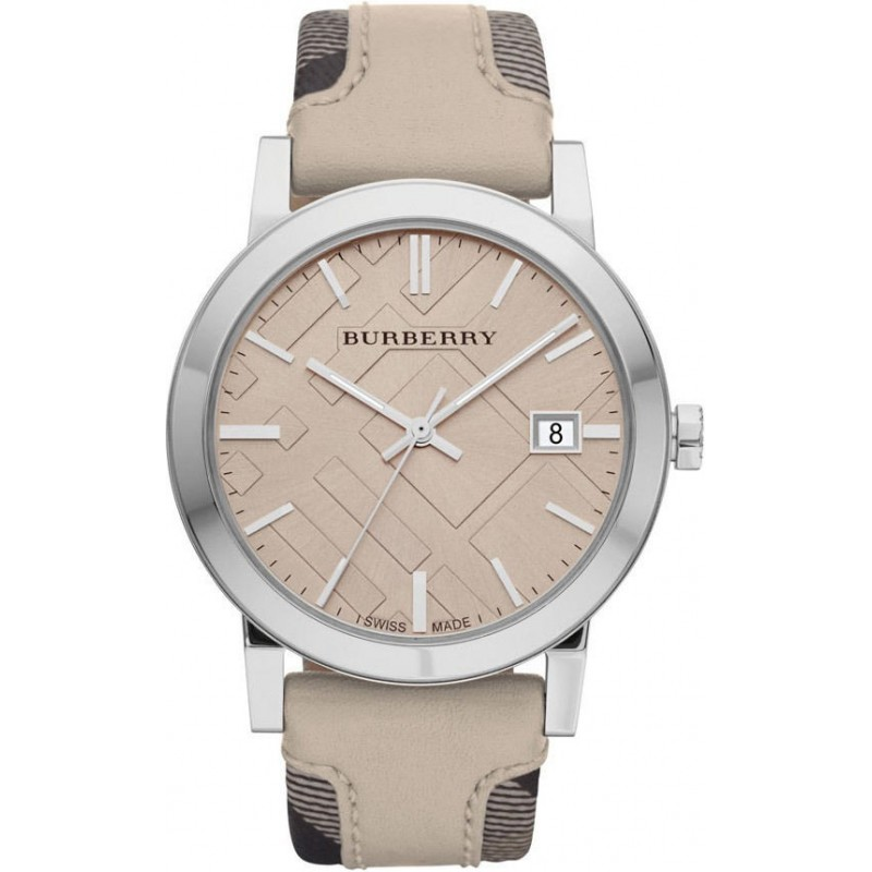 93f3989b64d Burberry BU9021 Men s  Large Check  Tan Dial Trench Check Beige Strap Watch